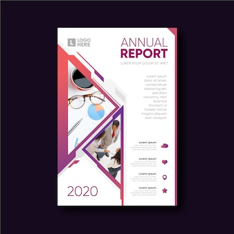 Abstract template annual report with image