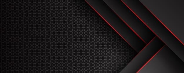 삼각형 패턴 및 빨간색 조명 라인 추상 템플릿 검은 배경.