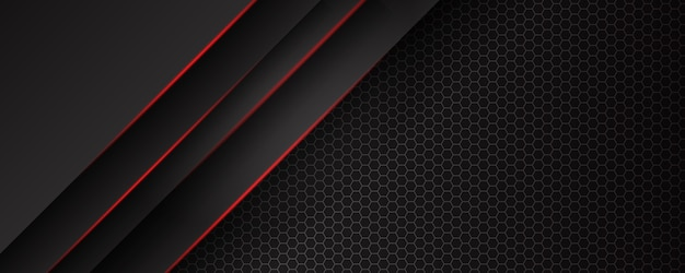 Abstract template black background with triangles pattern and red lighting lines. sports technology modern design concept.