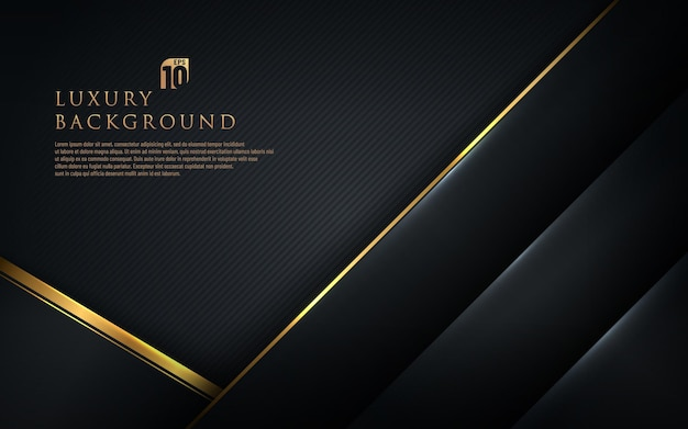 Абстрактный шаблон черная геометрическая диагональ с золотой каймой на темном фоне. роскошный и элегантный стиль.