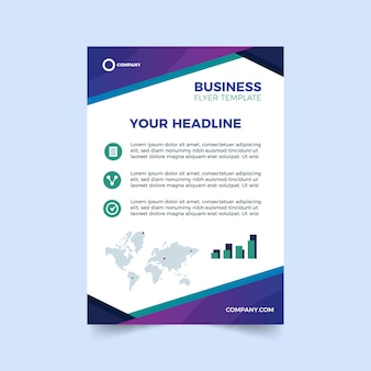 Abstract template for business flyer with world map