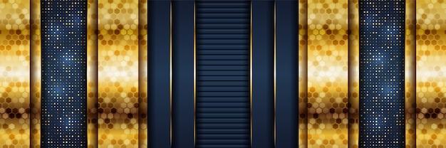 Абстрактный шаблон темно-синий роскошный фон с золотыми линиями освещения