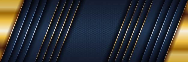 Abstract template dark blue luxury background with gold lighting lines