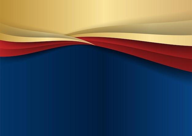 Абстрактный шаблон темно-синий роскошный премиум фон с элементами золотых и красных геометрических фигур. костюм для фона презентации, сертификата, визитной карточки, баннера, флаера и многого другого