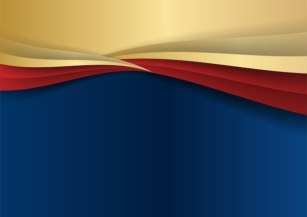 Abstract template dark blue luxury premium background with gold and red geometric shapes elements. suit for presentation background, certificate, business card, banner, flier and much more