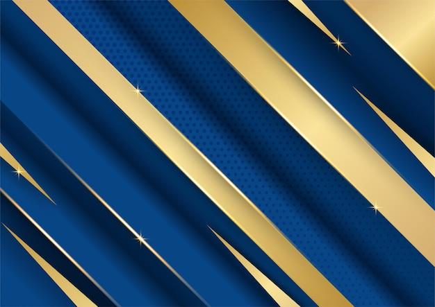 Абстрактный шаблон темно-синий роскошный премиум фон с роскошным рисунком треугольников и золотыми линиями освещения.