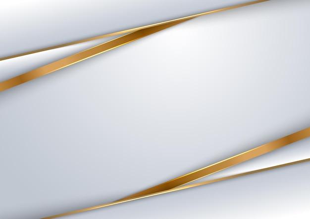 抽象的なテンプレートデザインの白とグレーの背景の幾何学的な重なり合うレイヤーと金色のラインの豪華なスタイル。