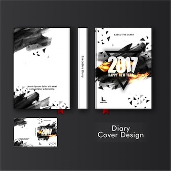Abstract template of diary cover with black triangles