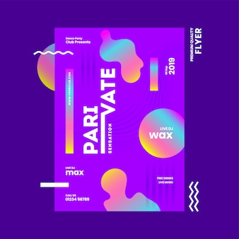 Abstract template or flyer design with venue details for private sensation party.