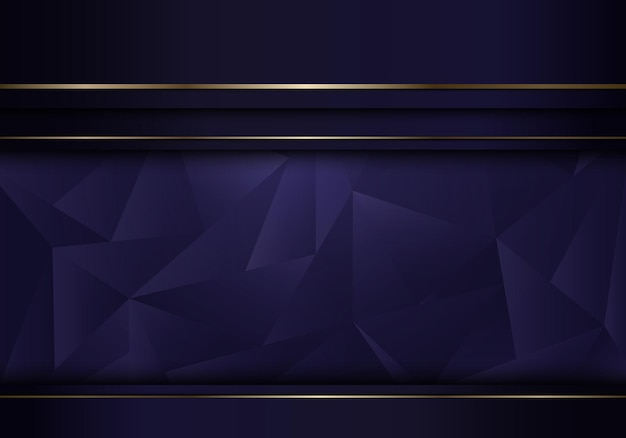 Abstract template purple stripes layer with golden line on low polygon background and texture luxury style. vector illustration