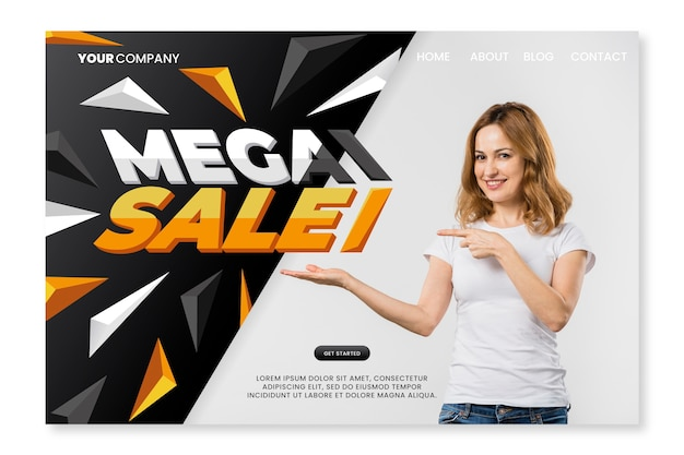 Abstract template sales landing page