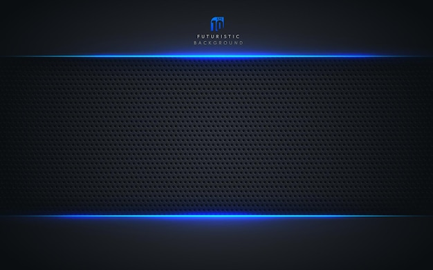 Abstract template technology style. blue metallic color black frame
