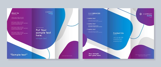 Abstract template for trifold brochure with front and back