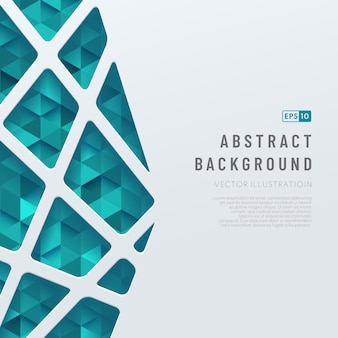 Abstract template white geometric lines pattern on triangle green and blue pattern background.