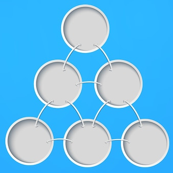Abstract template with circles on a blue background.