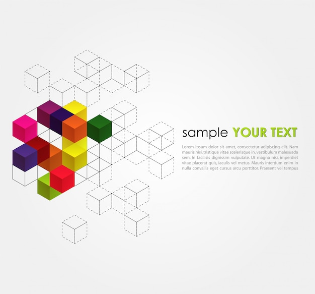 Abstract template with color cubes