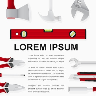 Abstract template with tools on white background