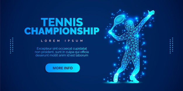 Abstract tennis player from particles on blue background. template brochures, flyers, presentations, logo, print, leaflet, banners.