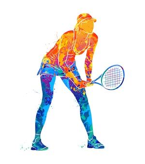 水彩画のスプラッシュからラケットで抽象的なテニスプレーヤー。塗料のイラスト。
