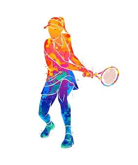 水彩画のスプラッシュからラケットで抽象的なテニスプレーヤー。塗料のイラスト