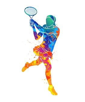 水彩画のスプラッシュからラケットで抽象的なテニスプレーヤー。