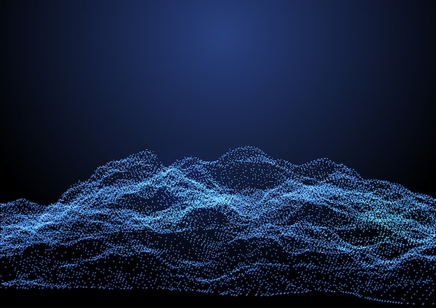 Abstract terrain of flowing dots