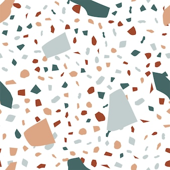 明るい背景に抽象的なテラゾシームレスパターン。石の破片でリアルな大理石の質感。床とタイルのデザインのためのモダンなミニマリストの背景。トレンディなベクトル図