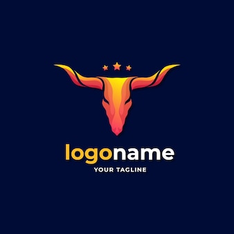 Abstract texas longhorn cow logo gradient for western countryside ranch