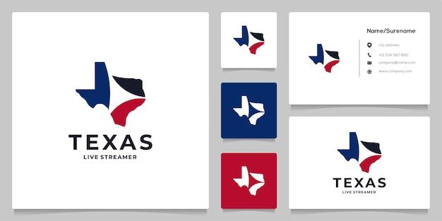Abstract texas maps video logo design negative space