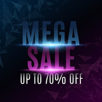 Abstract text banner for mega sale. cover for your business project. geometric design from random polygonal shapes. neon light with triangles.