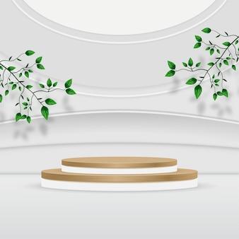 葉と抽象的なテクスチャ製品表彰台の背景