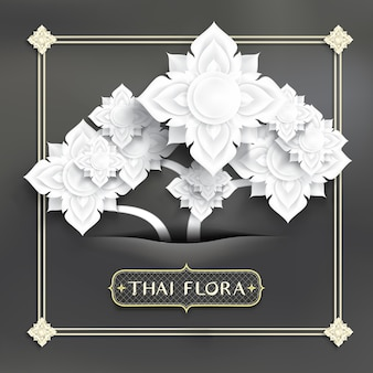 Abstract thai art, white flowers paper cut style