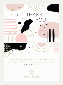 Abstract thank you card template with back design