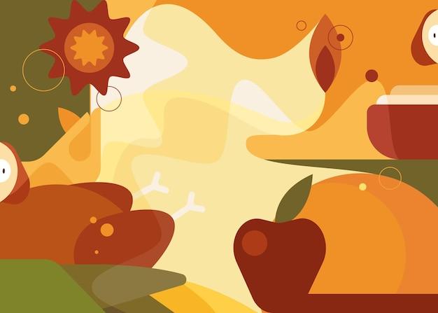 抽象的な感謝祭のバナー。フラットスタイルのホリデーポストカードデザイン。