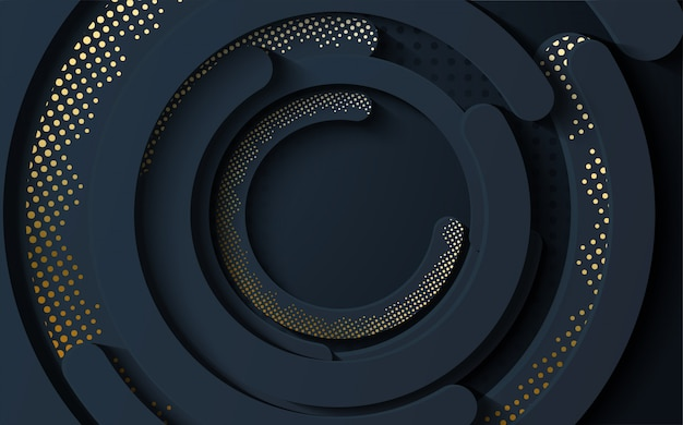 Abstract   of thick circle line pieces with halftone gold effect.