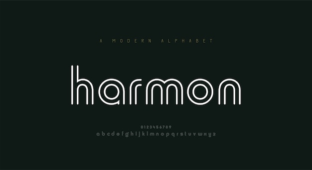 抽象的な細い線フォントのアルファベット。最小限のモダンなファッションのフォントと数字。