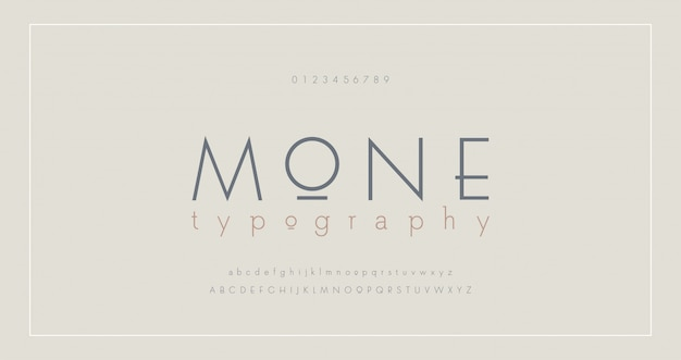 Abstract thin line font alphabet