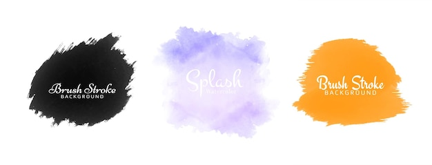 Abstract three colorful watercolor splash design set