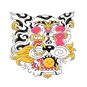 추상 호랑이 머리. 벡터 손으로 그린 만화 낙서 그림 아이콘입니다. 흰색 배경에 고립. 티셔츠, 포스터 컨셉을 위한 타이거 프린트