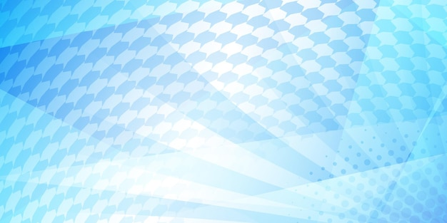 Abstract tiled background of dots and rays, in light blue colors