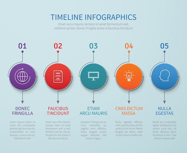 Abstract timeline vector infographics with business process steps