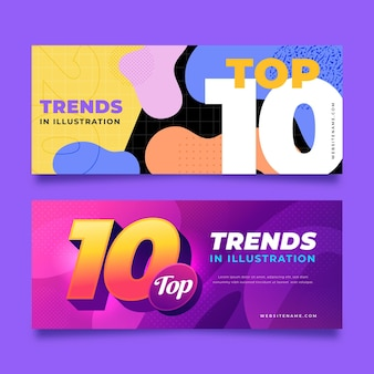 Abstract top ten rating banners