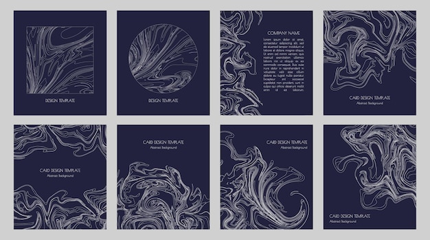 Abstract topographic contours and graphic thin white lines for modern minimalist business card template designs, presentations, invitations, fliers and covers. set of geometric stylish dark backdrops.