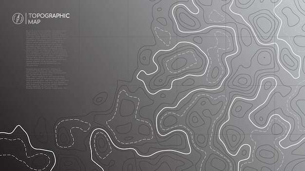 Abstract topographic map banner with copy space.