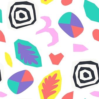 Абстрактная рваная бумага и коллаж геометрических фигур. ретро стиль. бесшовный узор вектор.