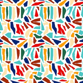 抽象的な破れた紙のシームレスなパターン。幾何学的な形、明るい破れたテクスチャの背景。モダンな形の切り抜き紙でコラージュグラフィックプリントを繰り返します。ベクトルコラージュスタイルのイラスト。