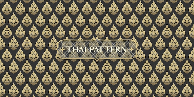 Abstract traditional hand drawn black and gold thai flower pattern background