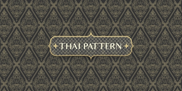 Abstract traditional hand drawn thai pattern connecting angel and flowers