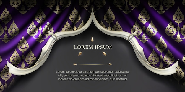 Abstract traditional purple thai flowers pattern plus white edge on rip curl dark green curtain background Premium Vector