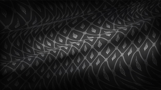 Abstract traditional thai pattern, on realistic rip curl black silk fabric background.